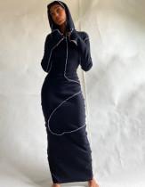 Vestido largo casual de manga larga con capucha de primavera