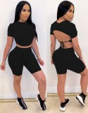 Summer Solid Plain Sexy Fit Crop Top y Shorts Conjunto a juego