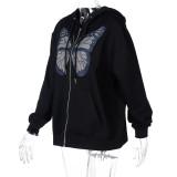 Chaqueta con capucha suelta con estampado de mariposas de manga larga de primavera