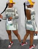 Mini vestido con espalda descubierta y manga larga con estampado de dinero sexy de fiesta