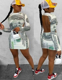 Party Sexy Print Money Long Sleeve Cut Out Back Mini Dress