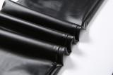 Pantalones de cuero negros apilados de cintura alta sexy