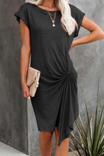Summer Short Sleeve Dark Grey Irregular Ruched Shirt Dress