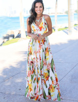 Zomer casual bloemenband lange jurk