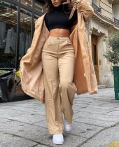 Bahar Zarif Yüksek Bel Katı Düz Geniş Bacaklar Pantolon