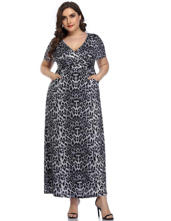 Vestido largo largo de cintura alta de leopardo con cuello en V y manga corta de verano