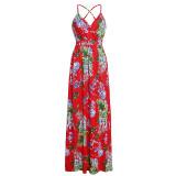 Vestido largo con correa floral informal de verano