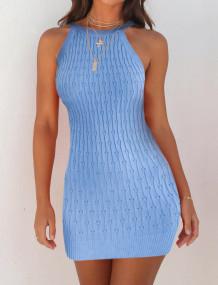 Summer Blue Knit Halter Mini Dress
