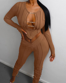 Sexy zweiteiliges, langärmliges, ausgeschnittenes, geripptes Crop-Top und passendes Hosen-Set
