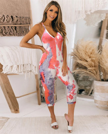 Zomer casual jumpsuit met tie-dye band