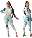 Conjunto de pantalón y top corto ajustado con efecto tie dye sexy de dos piezas