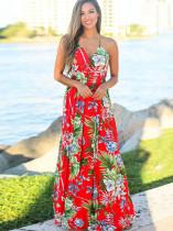Yaz Günlük Çiçek Askılı Uzun Elbise