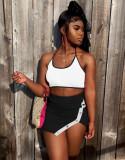 Summer Sexy Halter Crop Top y Minifaldas con aberturas laterales Conjunto a juego