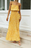 Vestido largo con correa amarilla floral elegante de verano