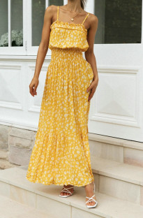 Summer Elegant Floral Yellow Strap Long Dress