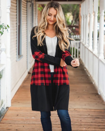 Spring Plaid Print Long Cardigans with Full Sleeves