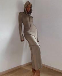 Lässiges Spring Long Sleeve Hoody Langes Kleid