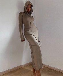 Casual Spring Long Sleeve Hoody Long Dress