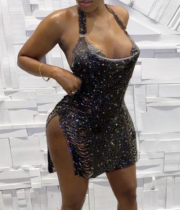 Vestido de club de halter rasgado con lentejuelas con abertura lateral sexy