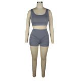 Summer Sports Fitness Conjunto de sujetador liso sólido y pantalones cortos de cintura alta