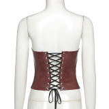 Party Sexy Leather Strapless Bustier Corset