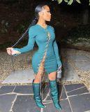 Vestido ajustado con cordones de cadenas de manga larga sexy de fiesta