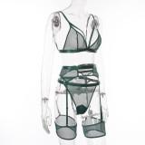 Conjunto de lencería sexy de tres piezas con sujetador y panty Galter