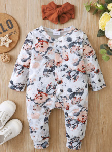 Baby Girl Spring Long Sleeve Floral Rompers