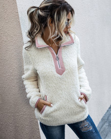 Winter Turtleneck Zipped Fleece Top