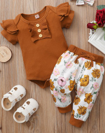 Baby Girl Summer Ribbed Rompers and Matching Floral Pants Set