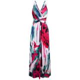 Vestido largo envuelto con tirantes estampados elegantes de verano