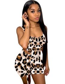 Bijpassende tweedelige sexy luipaard crop top en minirok set