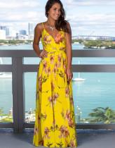 Sommer Elegant Print Strap Wrapped Long Dress