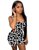 Conjunto de minifalda y top corto de leopardo sexy de dos piezas a juego