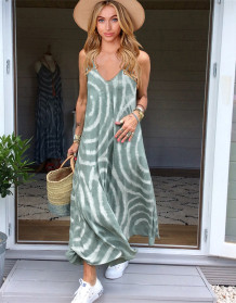 Summer Casual Tie Dye Strap Long Dress