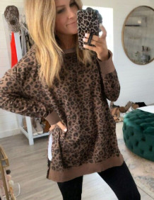 Spring Side Slit Leopard Print Long Shirt