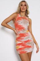 Summer Tie Dye Sleeveless Ruched Mini Dress
