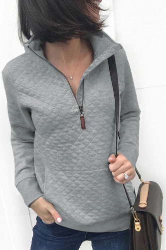 Chemise à poche zippée à col roulé de printemps