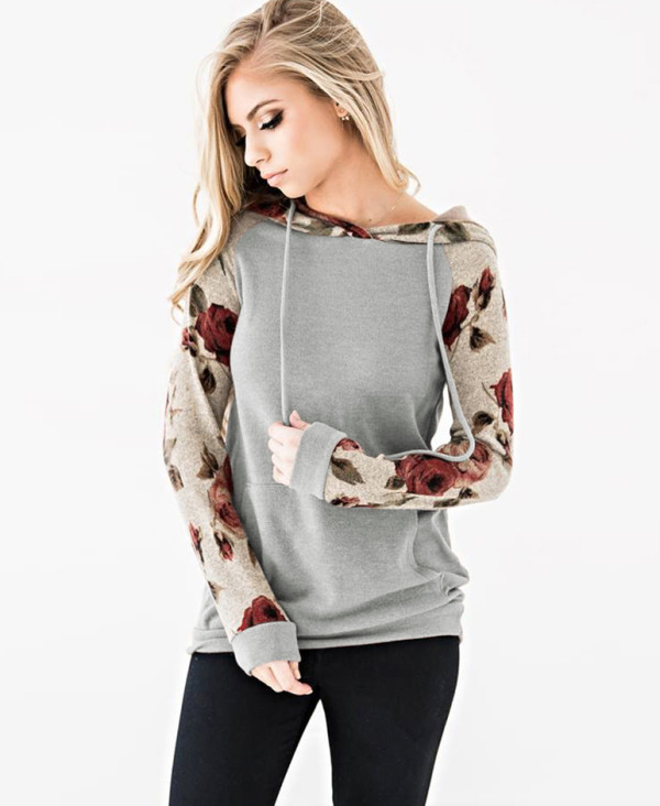 Casual Long Sleeve Hoody Shirt with Floral Sleeves