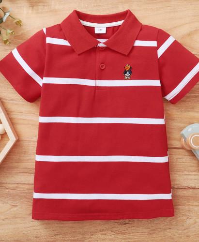 Çocuk Boy Yaz Çizgili Polo Gömlek