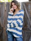 Camisa holgada de manga larga con cuello en V y rayas anchas de primavera