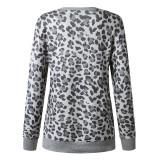 Spring Side Slit Langhemd mit Leopardenmuster