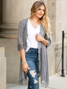 Spring Lace Patch Solid Plain Long Cardigans