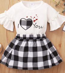 Baby Girl Summer White Shirt and Plaid Skirt Set