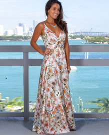 Summer Elegant Print Strap Wrapped Long Dress
