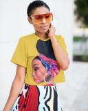 Summer Character Print O-Neck Crop Shirt