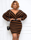 Party Long Sleeve Stripes Wrapped Bodycon Kleid