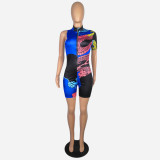 Summer Print Front Zipped Bodycon Rompers