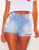 Summer Blue Washed High Waist Ripped Denim Shorts