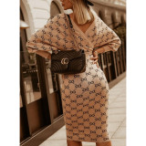 Spring Long Sleeve Print Wrapped Knitting Pencil Dress